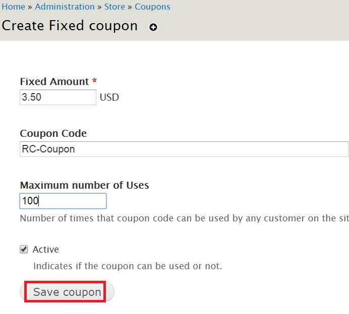 Adding coupons to your drupal commerce store red crackle refer the screenshot below for more details click save coupon once you are done fandeluxe Choice Image