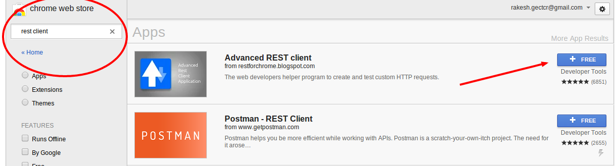 Install Advanced REST client from chrome store