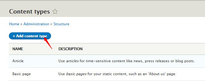 add content type in Drupal