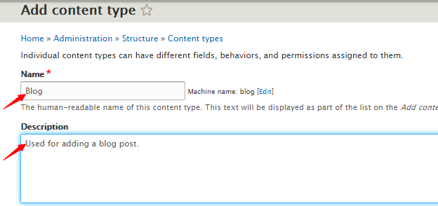 edit content type in Drupal